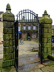 Haworth church gates leading to Haworth High Street